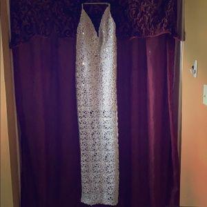 Forever 21, Silver sequin floor length dress